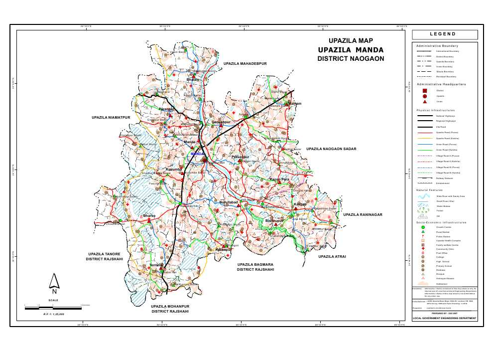 Manda Upazila Map Naogaon District Bangladesh