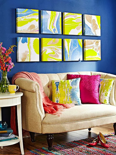 same colorful patterns on pictures and cushions