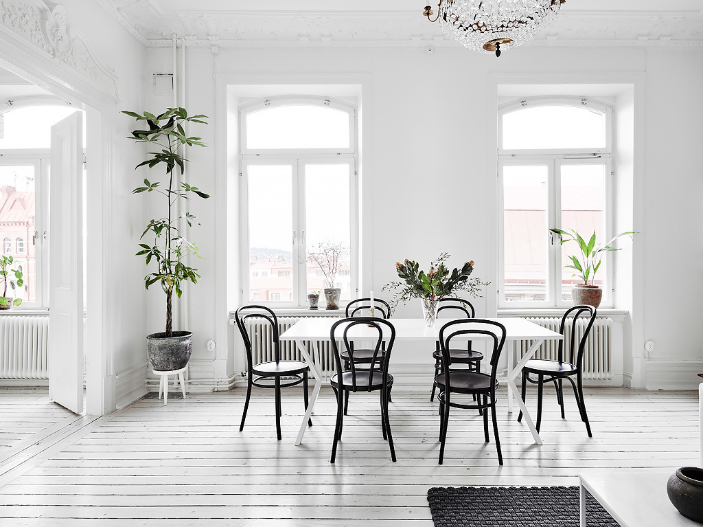 home decor, nordic living, interior design, thonet hair, black and white, sofa, coffe table, gold mirror. dining room