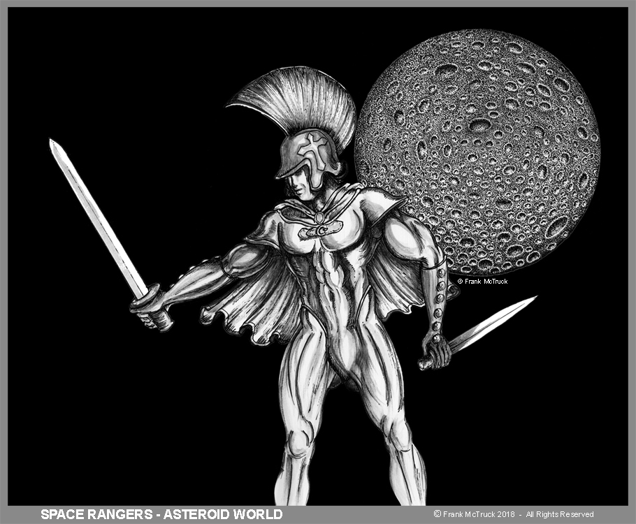 """A Frank McTruck ink and ink wash cartoon - """"Space Rangers - Asteroid World"""""""