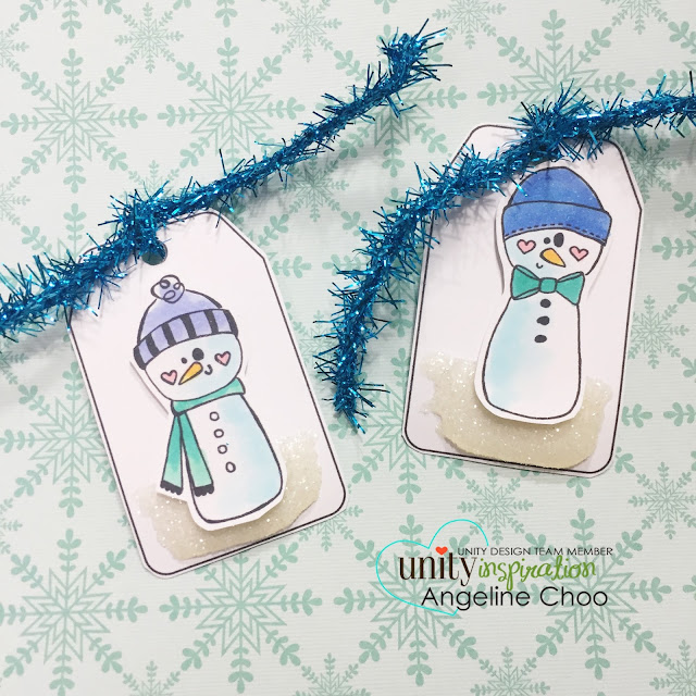 ScrappyScrappy: Unity Hop: Snow tag and Foil cards #scrappyscrappy #unitystampco #card #tag #stamp #youtube #quicktipvideo #papercraft
