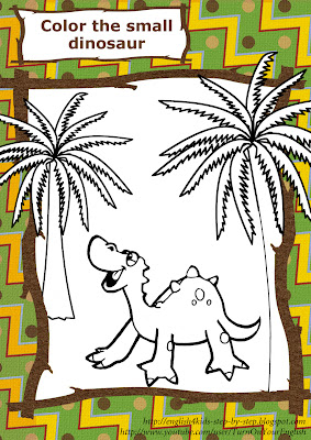 baby dinosaur coloring page for learning English