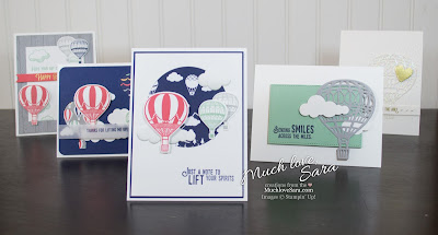 Hot Air Balloon themed handmade cards  - made using Stampin' Up Lift Me Up Stamps and Up & Away Thinlets