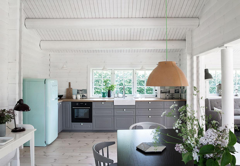 inside of a log cabin, scandinavian interior design, black and white, gray kitchen, robin egg blue fridge