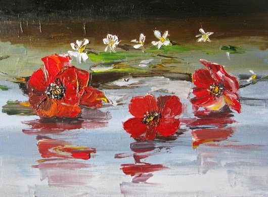 Red poppies. Oil paints and palette knife.