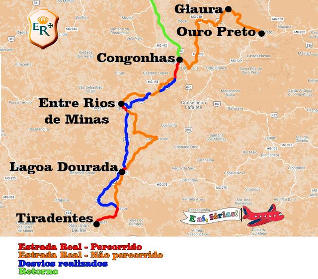 Nosso trecho entre Congonhas e Tiradentes.