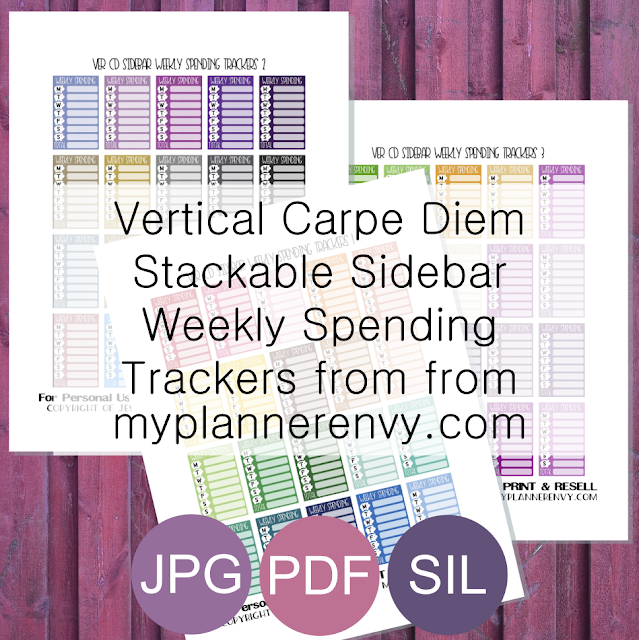 Free Printable Stackable Sidebar Weekly Spending Trackers for the Vertical Carpe Diem Inserts from myplannerenvy.com