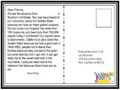 for a 50 state postcard exchange the students write the paragraphs