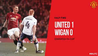 HT: Manchester United vs Wigan Athletic 1-0 FA Cup