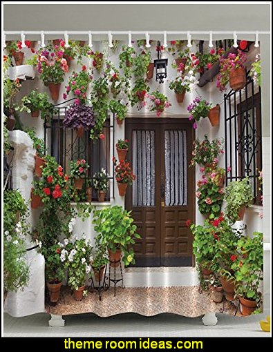 Spanish House Print Polyester Fabric Shower Curtain