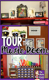 Tour the music room and see great ideas for decorating, organizing, classroom set up, bulletin boards and more.  This room features a rainbow and black and white polka dot theme.  Students in K-6 use the room so the set up works for multiple age levels.