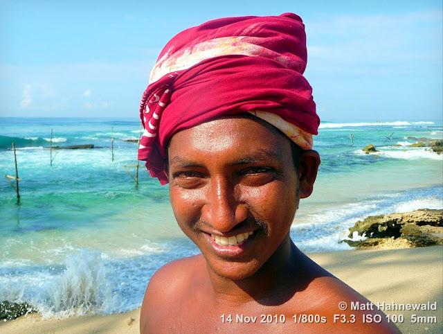 close up, street portrait, headshot, people, outdoors, Sri Lanka, Unawatuna, stilt fishing, young fisherman