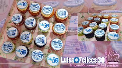 cupcakes personalizados fondant impresión comestible cumpleaños aniversario 30 años laia's cupcakes puerto sagunto