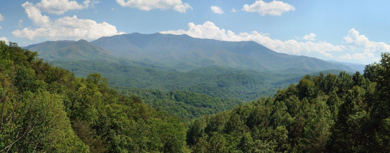 Mount Leconte Smoky Mountain Peak Viewed From Gatlinburg