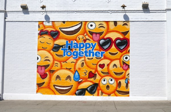 Happy Together emoji wall mural ad