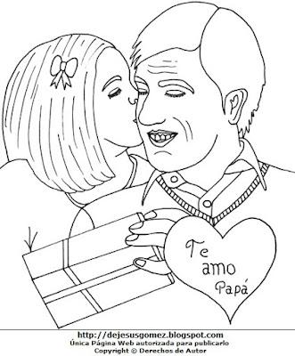 Dibujo por el Día del padre para colorear o pintar  (Padre recibiendo un beso de su linda niña). Dibujo al día del padre hecho por Jesus Gómez