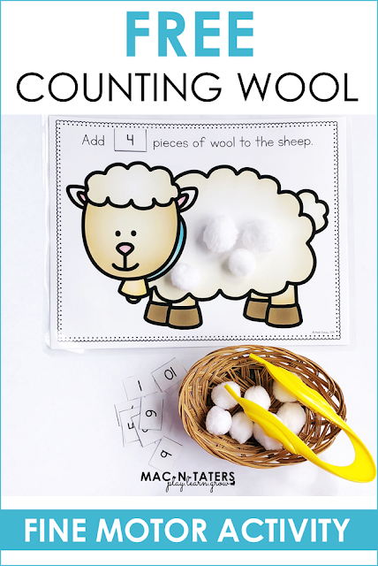 Free Farm Theme Counting Activity Counting Sheep Wool Fine MOtor Activity