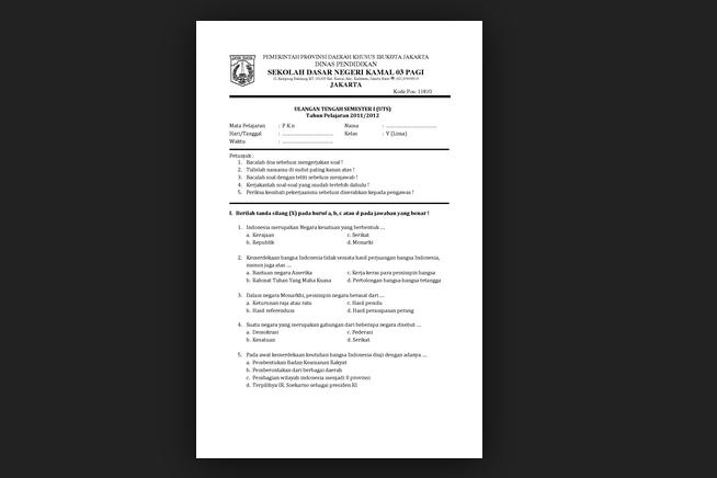 Lengkap Soal-soal UTS PKN Kelas 3 SD Semester Ganjil 2014