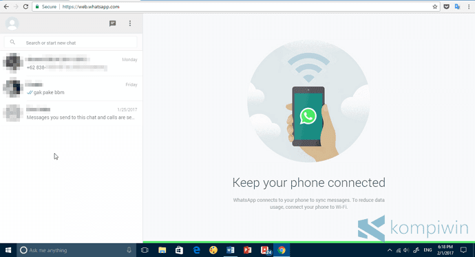 menggunakan whatsapp di web