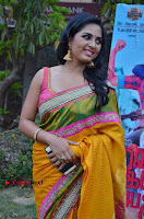 Actress Srushti Dange Latest Pos in Yellow Silk Saree at Saravanan Irukka Bayamaen Tamil Movie Press Meet  0007.jpg