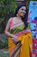Actress Srushti Dange Latest Pos in Yellow Silk Saree at Saravanan Irukka Bayamaen Tamil Movie Press Meet  0007.jpg