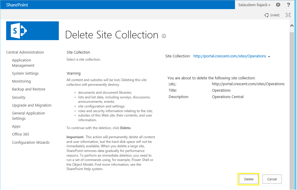 powershell script to delete a site collection