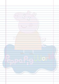 Folha Papel Pautado Mamae Pig PDF para imprimir na folha A4