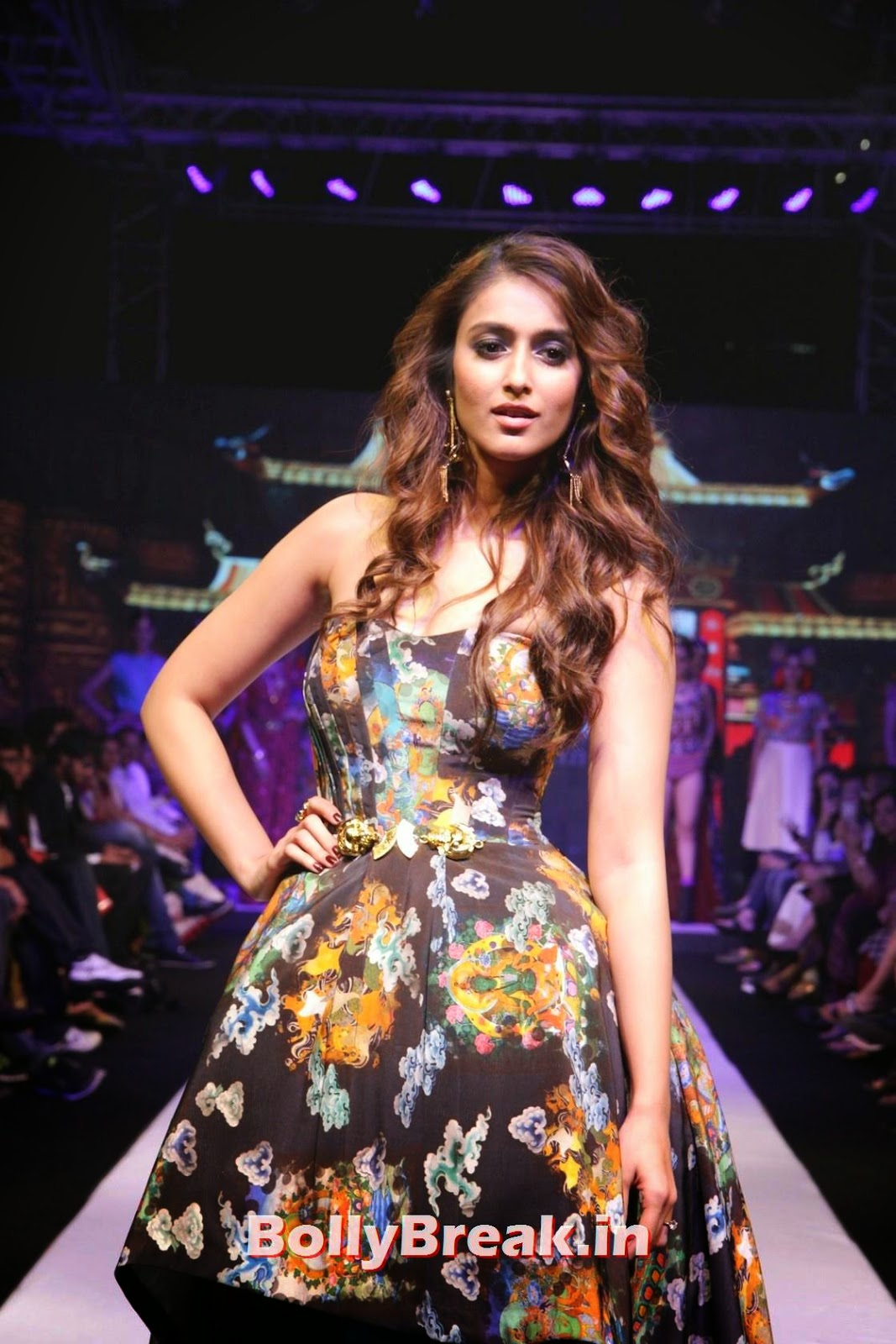 Ileana Pics, Ileana  in without sleeve dress hot pics Ramp Walk At Madame Style Week