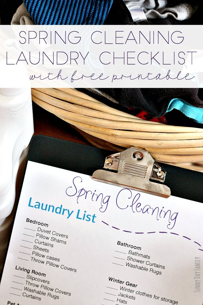Free printable spring cleaning laundry checklist! Everything you need to put in the washing machine for a clean house in one printable Spring cleaning checklist. Laundry | Spring Cleaning | Laundry Hacks | Cleaning Hacks