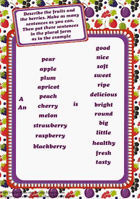 describing fruits together with berries printable worksheet