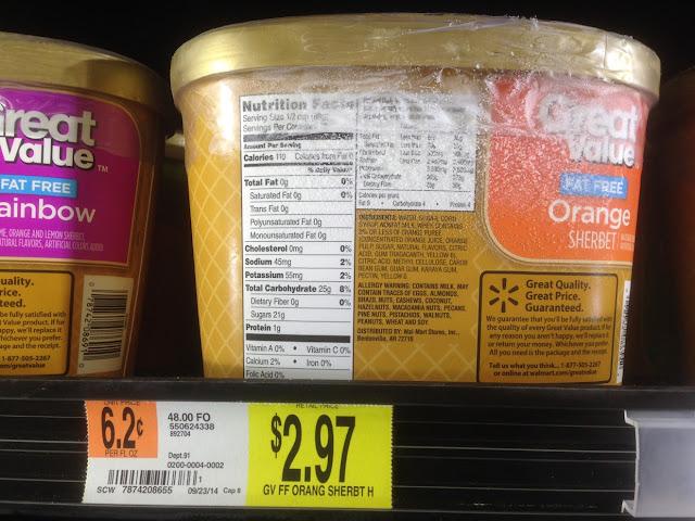 Orange Sherbet, Great Value - Walmart