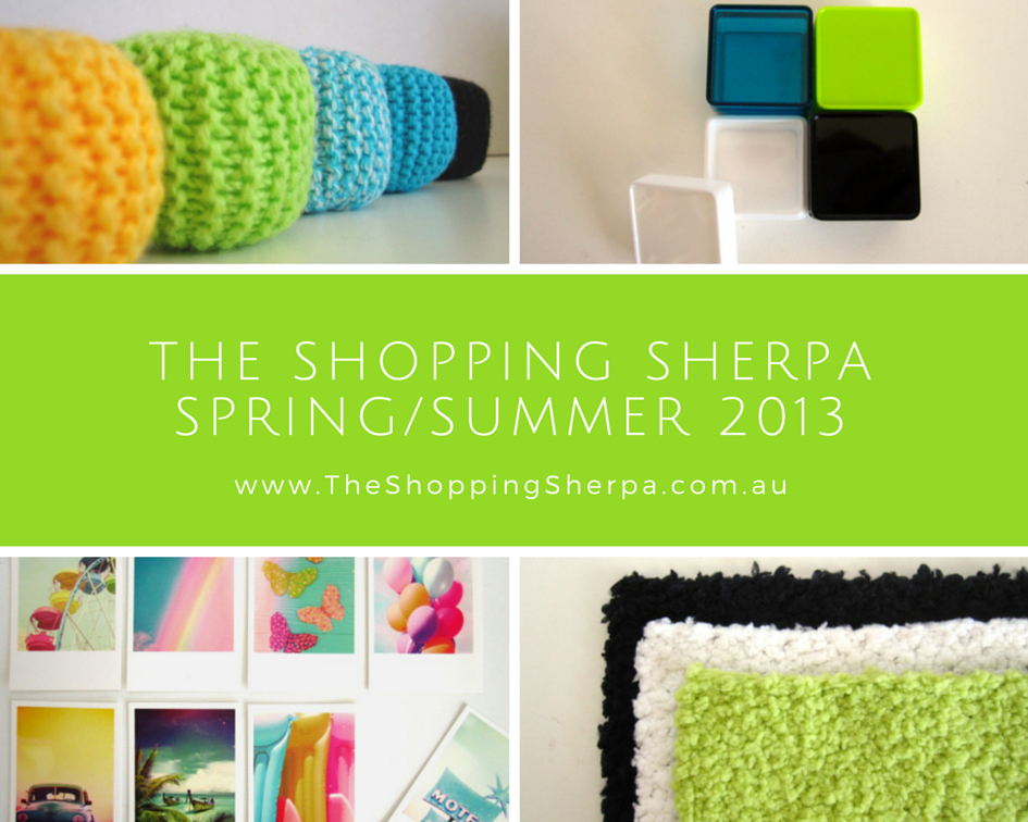 Advertisement showing the Spring/Summer 2013 range of modern dolls' house miniature items offered by The Shopping Sherpa: pouffes, storage boxes, posters and fluffy rugs.