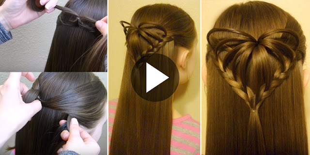 How To Create Half Up 3D Heart Hairstyle, See Tutorial