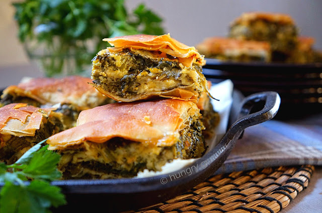Hortopita: Greek Savory Pie with Greens, Herbs and Feta Cheese