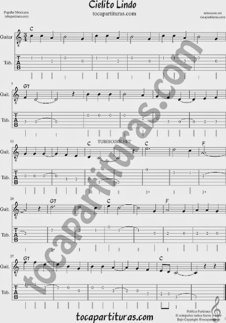 Cielito Lindo Tablatura y Partituras del Punteo de Guitarra con acordes Tabs sheet music for easy guitar Scarboroug Fair Tablature with chords Popular song of Mexico