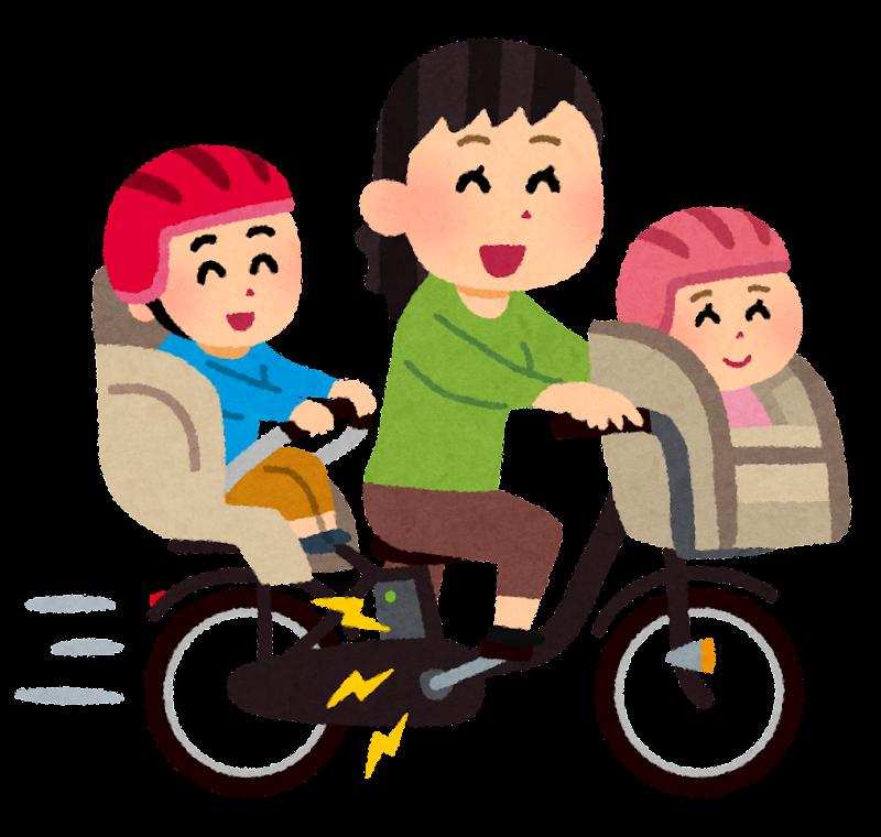 電動自転車で3人乗りするお母さんのイラスト かわいいフリー素材集
