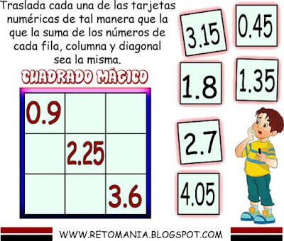 Cuadrado mágico, Cuadrado mágico 3x3, Busca los números, Números decimales, Retos matemáticos con decimales, Desafíos matemáticos, Desafíos matemáticos con decimales