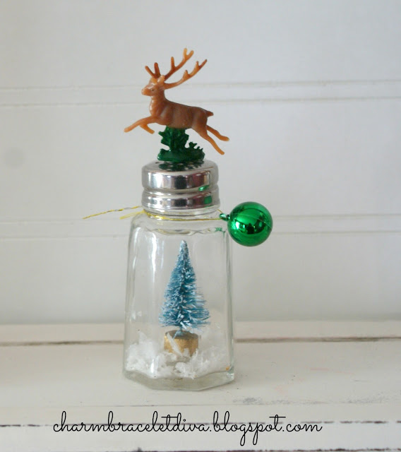 DIY vintage salt and pepper shaker snow globes reindeer ornament bottle brush tree
