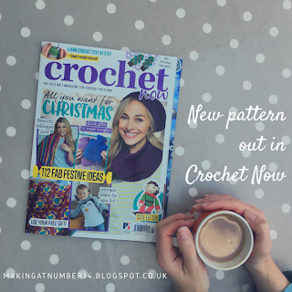 Cover of Crochet Now and hands holding a cup of tea