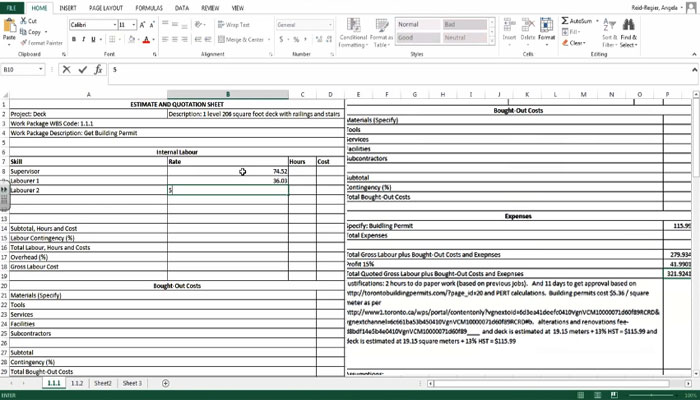 Construction Civil Engineering How To Create The Estimate And Quotation Sheets Using Excel
