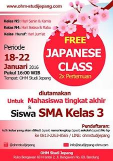 Kelas bahasa Jepang gratis di OHM Studi Jepang Bandung!