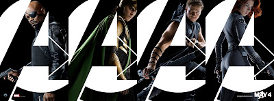 The Avengers Teaser Character One Sheet Movie Posters - Samuel L. Jackson as Nick Fury, Tom Hiddleston as Loki, Jeremy Renner as Hawkeye & Scarlett Johansson as Black Widow