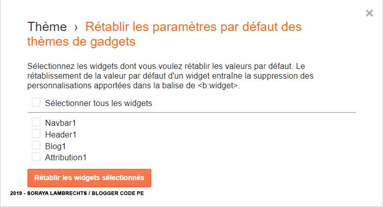Réinitialiser le code XML des gadgets Blogger.