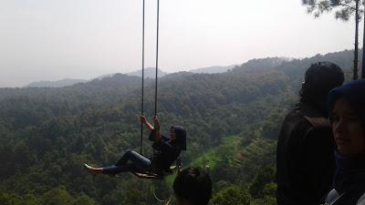 rumah pohon spot alternatif untuk melihat keindahan tempat wisata alam pabangbon dari ketinggian