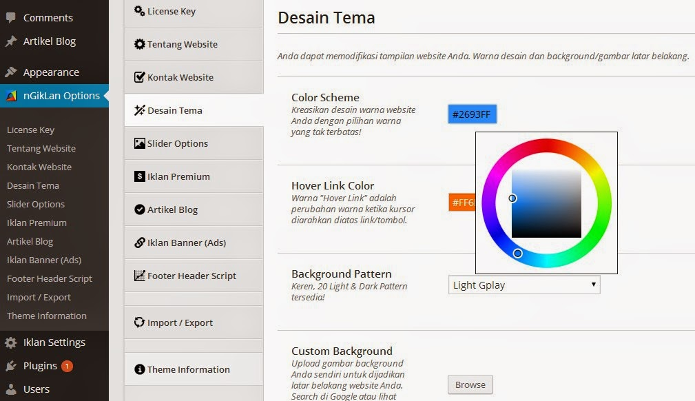 warna template iklan baris