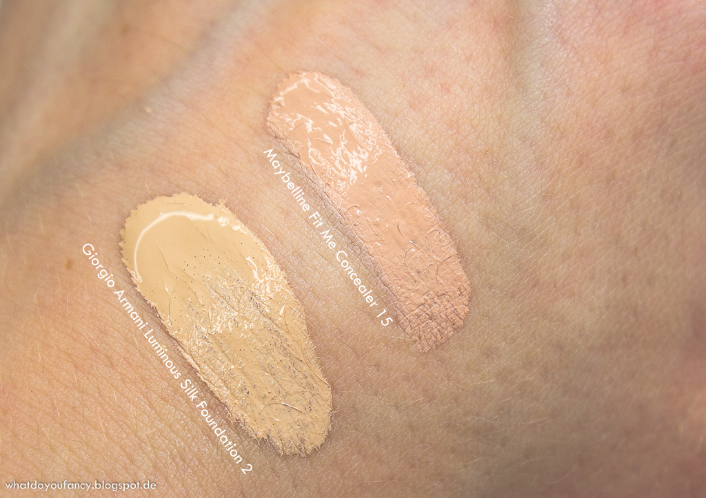 Maybelline Fit Me Concealer '15' und Giorgio Armani Luminous Silk Foundation '2'