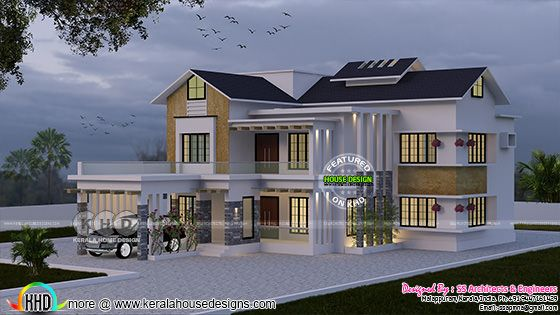 Modern sloping roof 4 BHK home design
