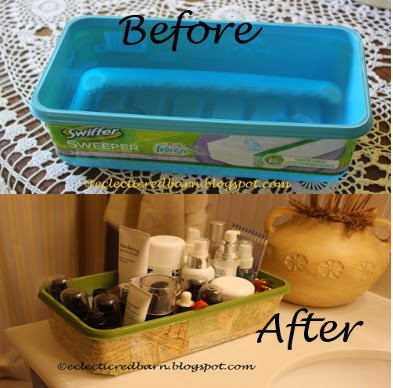 Eclectic Red Barn: Before and after decorated Swiffer container