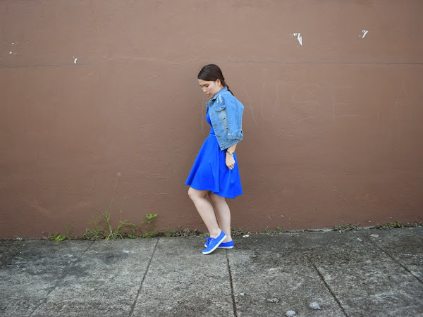 Outfit Diary: Royal Blue Dress + Cropped Denim Jacket | Respect Yourself