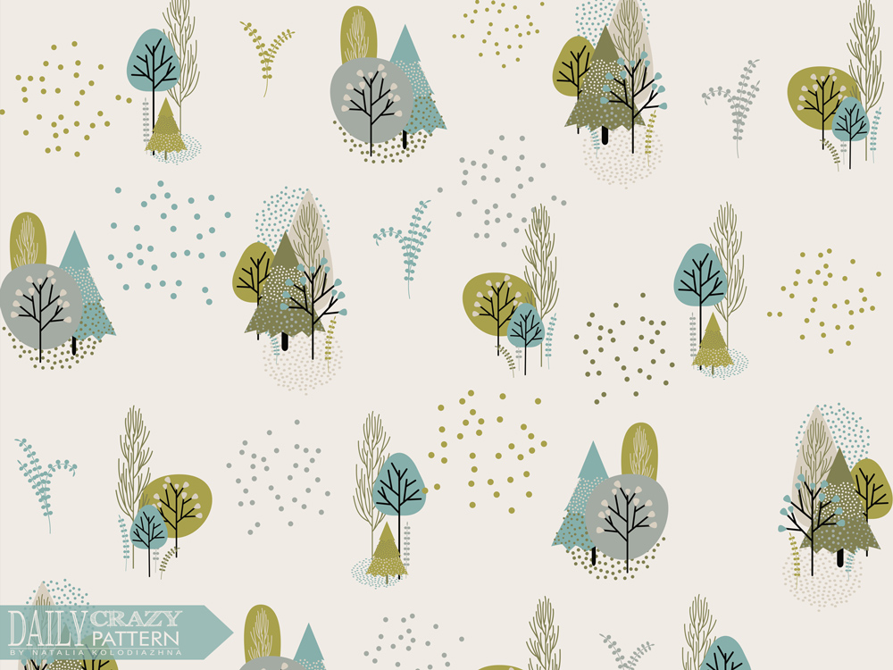 "Fancy art print with trees for ""Daily Crazy Pattern"" project"